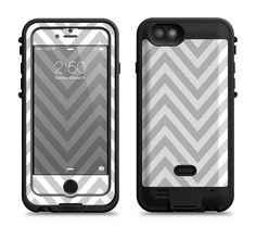 The Gray & White Sharp Chevron Pattern Apple iPhone 6/6s LifeProof Fre POWER Case Skin Set