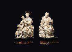 Due gruppi in avorio scolpito raffiguranti S.Giuseppe? e la Madonna, Gesù Bambino e S.Giovannino. cultore napoletano o siciliano del XVII secolo
