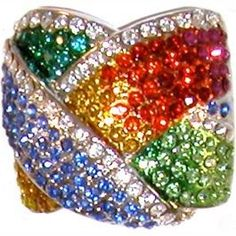 "7/8"" tall rainbow pave crystal ring gorgeous!, size 7 in Rainbow with Silver finish (16801)"