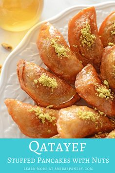 Ramadan Recipes 366691594658212232 - Ramadan Qatayef recipe stuffed with nuts. These Arabic pancakes and stuffed, folded, fried then dunked in a thick simple syrup. A very satisfying delicious dessert. Source by amiraspantry Arabic Dessert, Arabic Sweets, Arabic Food, Lebanese Recipes, Turkish Recipes, Persian Recipes, Katayef Recipe, Party Desserts, Dessert Recipes