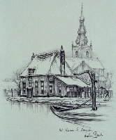 Anton Pieck - Het veerhuis te Overschie (Rotterdam)