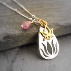 Rising Silver Lotus Necklace with Tourmaline & Mini Lotus Om Necklace, Lotus Necklace, Lotus Jewelry, Chakra Jewelry, Yoga Jewelry, Jewelry Gifts, Tourmaline Rose, Clean Gold Jewelry, Tree Of Life Jewelry