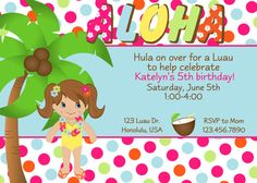 hula luau Birthday party invitation by BellasnFellas on Etsy, $8.50