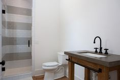 Eastwood Project // Gather & Build striped tiles, wood sink base