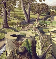 Simon Palmer (b. East of Eden Valley signed 'Simon Palmer' ink, watercolour and gouache x 23 in. Landscape Art, Landscape Paintings, London Ink, East Of Eden, David Hockney, Wood Engraving, Tree Art, Yorkshire, Nature