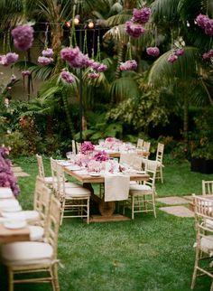 Outdoor reception with Hydrangea Garlands - Jeff Leatham Purple Wedding, Wedding Flowers, Dream Wedding, Garden Wedding, Jeff Leatham, Girls Party, Cut Above The Rest, Design Fields, Event Decor