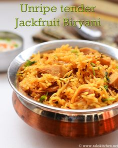 Indian Recipes Kathal ki biryani, Biryani made with unripe tender jackfruit - turns out really . North Indian Recipes, South Indian Food, Indian Food Recipes, Ethnic Recipes, Rice Recipes, Gourmet Recipes, Vegetarian Recipes, Cooking Recipes, Healthy Recipes
