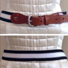 Banana Republic preppy belt Preppy sailor style belt with black and white woven canvas band. Front is a brown tab detailed with brushed buckle hardware. Very high quality vegan leather, I though it was real until I looked at the tag! Worn once, marked size M but runs small. Measures 30-34 inches from buckle to hole. From BR but there is no BR label on the belt as is typical of some of their accessories. Banana Republic Accessories Belts
