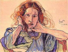 Stanislaw Wyspianski, - 1904 Portrait of Irena Solska (National Museum, Poznan, Poland) Figurative Kunst, Plant Drawing, Portraits, Pastel Drawing, Illustrations, National Museum, Face Art, Oeuvre D'art, Canvas Art Prints