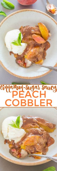 Cinnamon-Sugar Saucy Peach Cobbler - Don't settle for boring peach cobbler when you can have this EASY version that's packed with cinnamon-sugar flavor!! Everything is coated in an AMAZING sauce! Your new GO-TO peach cobbler recipe!!