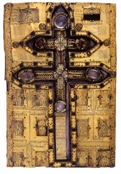 Staurotheke (a reliquary containing fragments of the True Cross) gift of brothers Musić (nephews of prince Lazar) noblemans: Stephen and Lazar, and bishop John to monstery Vatopedi. Holy Cross, Jesus On The Cross, Christian Symbols, Christian Art, Catholic Art, Religious Art, Byzantine Gold, St Clare's, Crucifixion Of Jesus