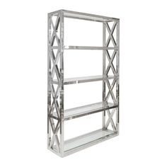 Worlds Away Clifton polished stainless steel etagere with 5 beveled glass shelves. Etagere Bookcase, Bookcase Shelves, Glass Shelves, Shelving, Bookcases, Storage Shelves, Wall Shelves, Display Shelves, Display Case