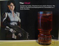 The Chief - Ashley Williams Recipe 1 oz Vodka (we recommend 42 Below) oz Chambord oz lemon juice Lemonade to fill Tea Cocktails, Fun Drinks, Beverages, Ashley Williams Mass Effect, Game Cocktail, Mass Effect Art, Mass Effect Universe, Drinking Buddies, Saints Row