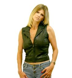 Motorcycle Girls Leather Vest with front Zipper
