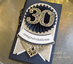 Judy Hayes for www.amazingpapergrace.com using3D Vignettes Filigree Numbers, 3D Vignettes Tiered Rosettes, Arched Swallowtail Pennants, Eliza Lace Corners, Vintage Pierced Banners
