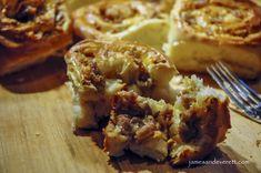 Savory Sausage Breakfast Rolls Cheese Sausage, Cheddar Cheese, Saute Onions, Sausage Breakfast, Sweet Bread, Baking Pans, Fresh Herbs, Cinnamon Rolls, Brunch