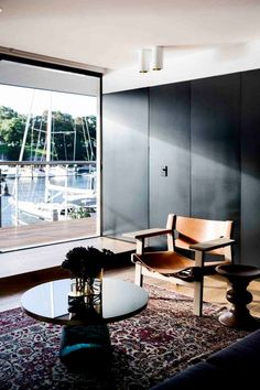 Apartment Finger Wharf is a refurbishment project completed by Sydney-based Architect Prineas. The project brief was centred about making . Minimalist Apartment, Minimalist Decor, Open Space Living, Living Spaces, Living Rooms, Sydney, Area Rugs Cheap, Apartment Furniture, Furniture Inspiration