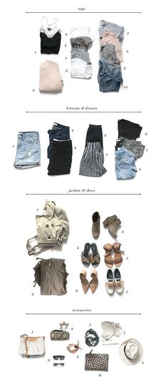 The Pinterest 100: Save space in your suitcase with a capsule wardrobe—a mix of versatile pieces you can repurpose and restyle throughout your trip.