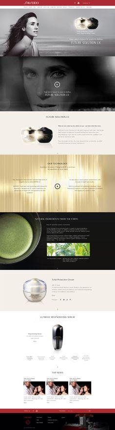 """Direction Artistique & Création d'un mini-site """"Futur Solution LX"""" en Responsive Design avec Parallaxe pour la marque """"Shiseido"""". #WebDesign #Luxe #UX Design"""