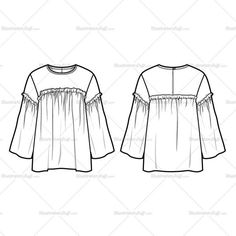Fashion Flat Vector Template Women's sketch of a frill swing top with flute sleeves and a keyhole at back. All sketches are CADed up and all the outline strokes are connected