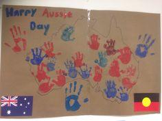 Children enjoy handprints on the Australian map for Aussie day ! Childcare Rooms, Childcare Activities, Toddler Learning Activities, Australia Crafts, Australia Day, Early Education, Early Childhood Education, Kindergarten Self Portraits, Aus Day