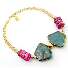 Geometric neon necklace - hot pink teal gold bright chunky necklace - spring fashion jewelry