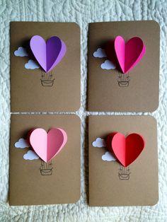 Valentine Heart Hot Air Balloon Card. $2.50, via Etsy.