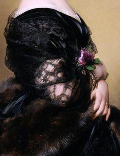 sommartidsvarmod:  Portrait de la Baronne Henri Hottinguer (née Caroline Delessert) par Franz Xaver Winterhalter (en detail), c. 1851.