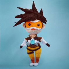 Crocheted Tracer amigurumi from the Overwatch