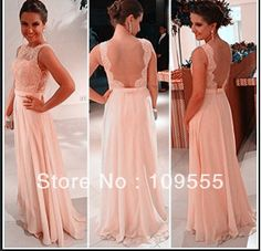 New Arrival Best Selling Custom Made Women Formal Chiffon Lace Backless Peach Long Evening Dress $76.00