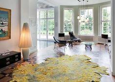 Adding Creative Floor Rugs and Carpets to Modern Interior Design Felt Cushion, Yellow Rug, Carpet Design, Rugs On Carpet, Carpets, Modern Interior Design, Interiores Design, Designer, Home Furniture