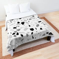 'Terrazzo Stone Pattern (Black + Gray)' Comforter by NeptuneDesigns Grey Comforter, Black And Grey, Gray, College Dorm Rooms, Square Quilt, Terrazzo, Quilt Patterns, Comforters, Duvet Covers