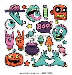 Halloween set of patches with pumpkin, zombies and other elements. Vector illustration isolated on white background. Set of stickers, pins, patches in cartoon comic style. Halloween Clay, Halloween Doodle, Halloween Drawings, Halloween Stickers, Flash Art, Tumblr Stickers, Cute Stickers, Imprimibles Halloween, Zombie Illustration
