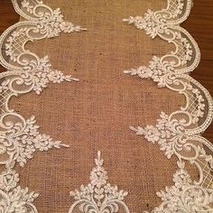 We applied french lace to jute fabric & can capture elegance is # Of Iran & Burlap Crafts, Fabric Crafts, Diy And Crafts, Burlap Projects, Craft Projects, Sewing Projects, Burlap Table Runners, Quilted Table Runners, Beaded Embroidery