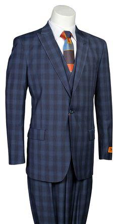 "Steven Land ""WALTER"" Navy Blue Windowpane Men's Modern Fashion Suit"
