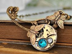 Victorian style necklace, steampunk necklace, steampunk jewelry,  ENCHANTED, vintage brass watch movement necklace with butterflies on Etsy, 15394,74Ft