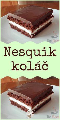 Nesquik koláč Czech Recipes, Oreo Cupcakes, Eclairs, Something Sweet, Cheesecakes, Baking Recipes, Ham, Food To Make, Deserts