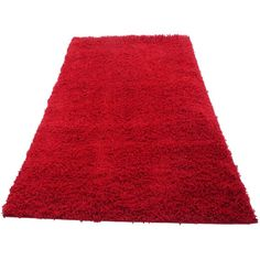 Novo Shaggy Rugs Hall Runners and Round Rugs Red (12 KWD) ❤ liked on Polyvore featuring home, rugs, novo, bright red area rug, round area rugs, red runner and circular rugs