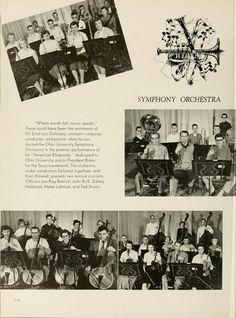 """Athena yearbook, 1954 """"Ohio University's Symphony Orchestra""""  :: Ohio University Archives"""