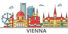 Vienna city skyline: buildings, streets, silhouette, architecture, landscape, panorama, landmarks. Editable strokes. Flat design l Town Drawing, House Drawing, Vienna Map, Urban Icon, Sketch Icon, City Icon, Line Illustration, Cruise Travel, Travel Posters
