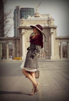 VINTAGE look- Jessica Simpson hat+Ralph Lauren fur stole