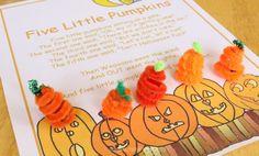 Five Little Pumpkins Fingerplay for Preschoolers