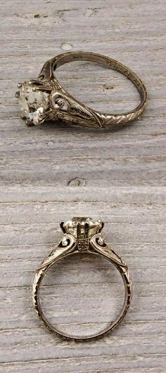 Old European Cut Diamond Vintage Engagement Ring | thebeautyspotqld.com.au