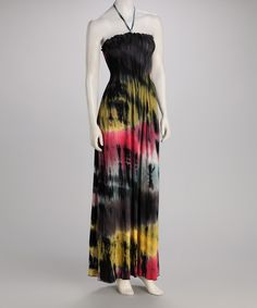 Take a look at this CLUB Z Gray & Yellow Tie-Dye Smocked Maxi Dress on zulily today!