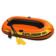 Intex Explorer 300 Compact Inflatable Three Person Raft Boat at Lowe's. The Intex Explorer 300 Boat Set is a perfect starter boat for families! Designed for up to three people, this compact inflatable boat makes relaxing, or Best Inflatable Boat, Inflatable Kayak, Kayaks, Kayak Fishing, Fishing Boats, Raft Boat, Remo, Floating In Water, Dinghy