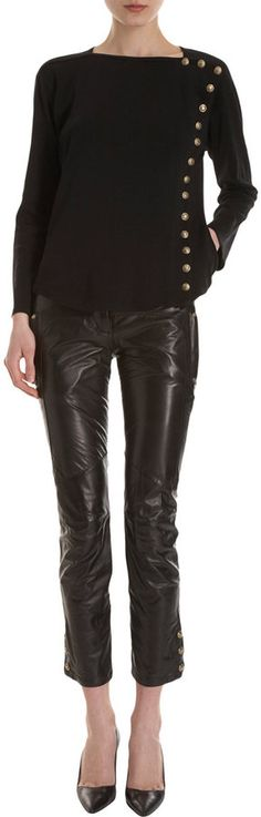 Balmain Cropped Leather Pant for Sale