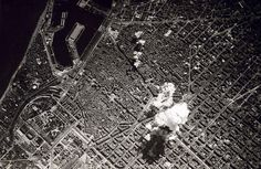 """Aerial bombing of Barcelona in 1938 by the Italian air force. """"Barcelona was bombarded for three days beginning on 3/16/1938, at the height of the Spanish Civil War. Under the command of the Italian dictator Benito Mussolini, Italian aircraft stationed on Majorca attacked 13 times, dropping 44 tons of bombs, aimed at the civil population. These attacks were at the request of General Franco as retribution against the Catalan population...The city finally fell into Nationalist hands on…"""