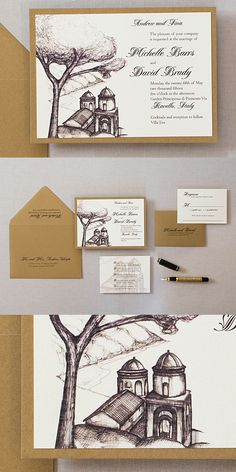 These Ravello Italy wedding invitations are stunning. We designed the invitations with a sketch of Church of Annunziata on the Amalfi Coast. Brown Wedding Invitations, Wedding Invitation Design, Custom Invitations, Wedding Stationery, Chocolate Brown Wedding, Ravello Italy, Amalfi Coast Wedding, Wedding Templates, Italy Wedding