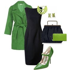 Green and black, make for sharp, fresh contrast. Love the shoes, and great for the basic black!