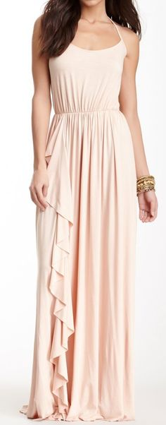 Blush Cascading Ruffle Maxi  **would love to have in green or blue**